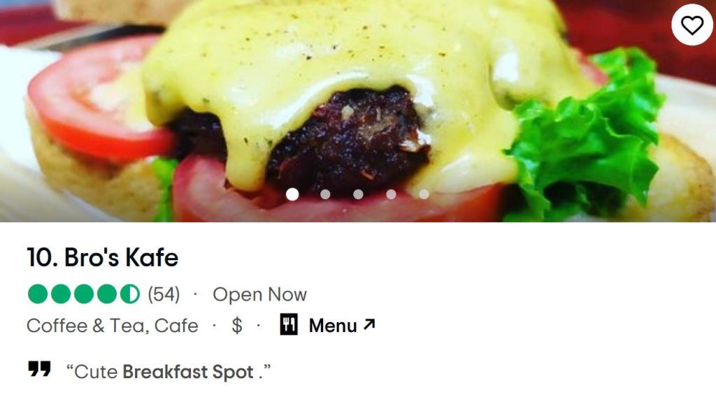 Bro's Kafe is ranked Top 10 Cafe for Breakfast in Da Nang
